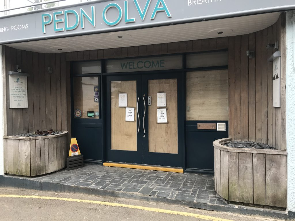 Pedn Olva Hotel closed during Covid-19 lockdown on Sunday 3rd May 2020