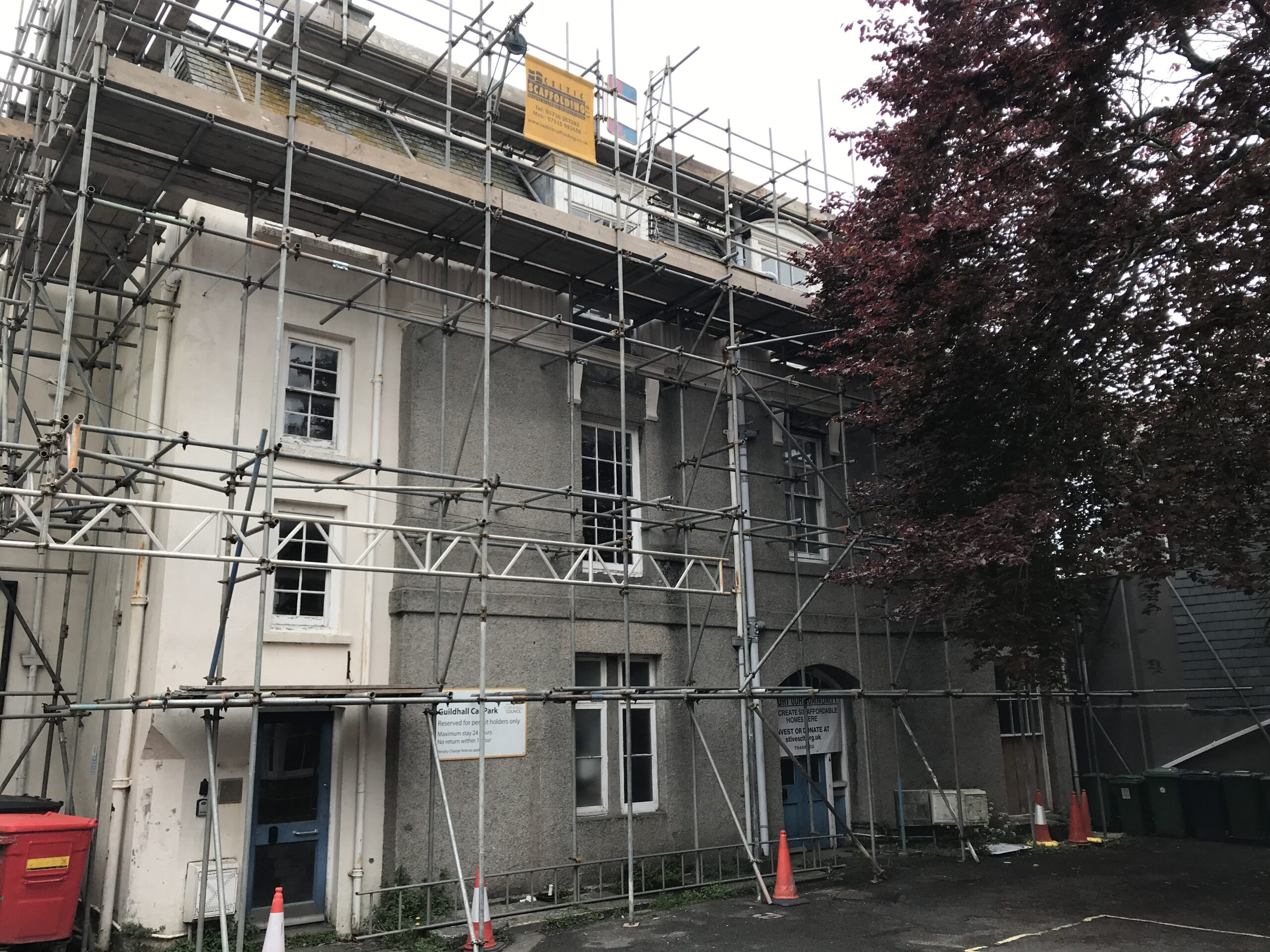 Old Vicarage Flats with scaffolding