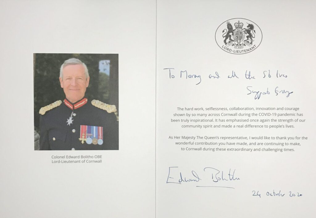 Lord Lieutenant Thank you Card inside
