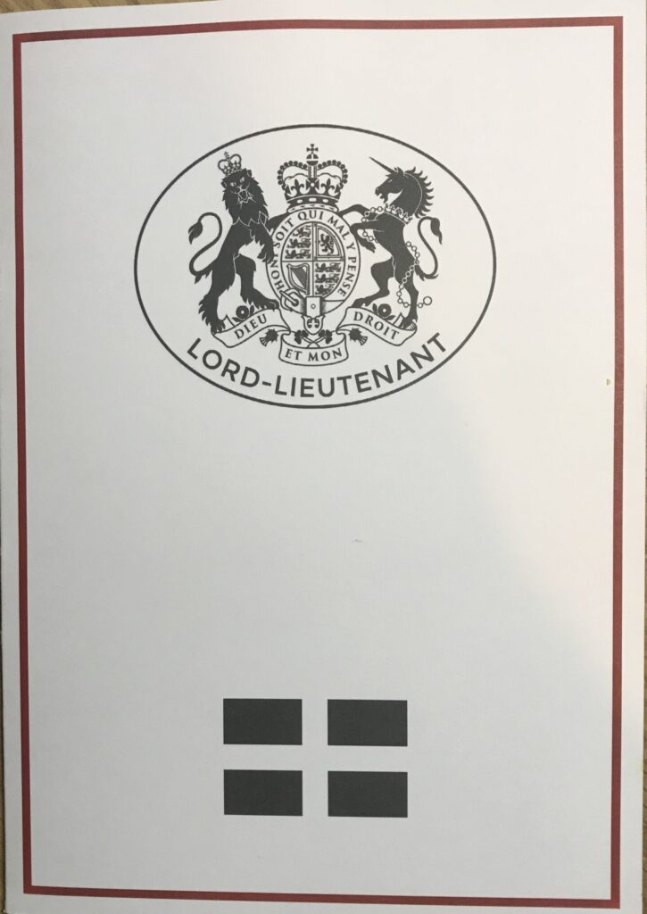 Lord Lieutenant Thank you Card front cover