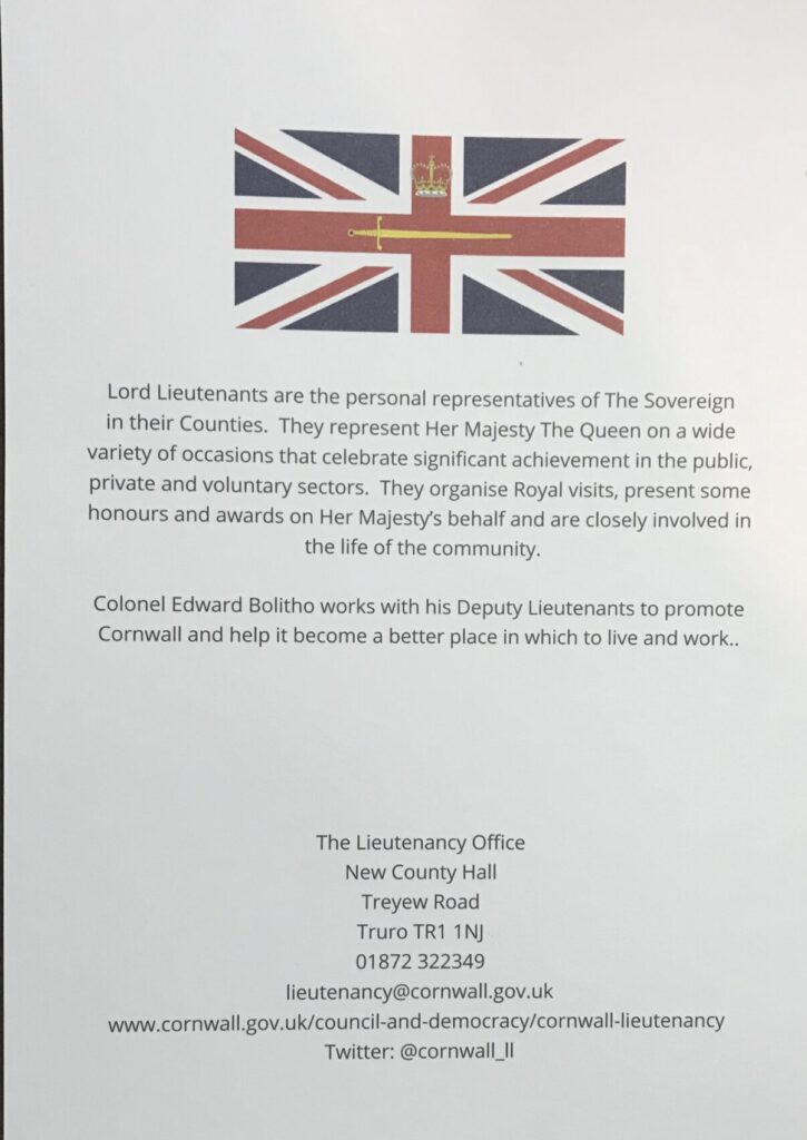 Lord Lieutenant Thank you Card back cover