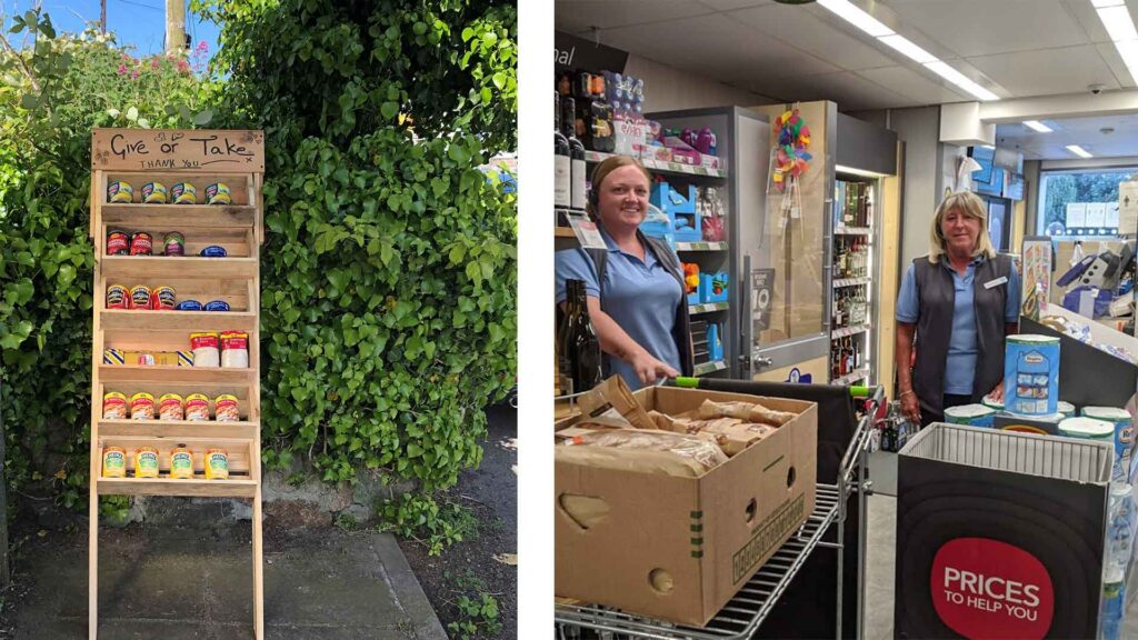 2 photos, one on the left showing the community pantry and on the right 2 local co-op workers