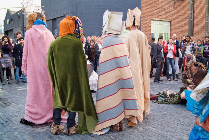 People wearing blankets